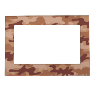 Brown Tan Camo Camouflage Name Personalized Magnetic Picture Frames