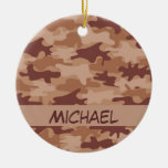 Brown Tan Camo Camouflage Name Personalized Ornament