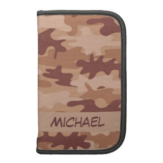 Brown Tan Camo Camouflage Name Personalized Organizers
