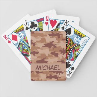 Brown Tan Camo Camouflage Name Personalized Bicycle Poker Cards