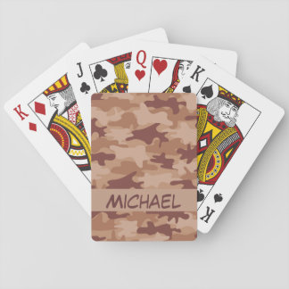 Brown Tan Camo Camouflage Name Personalized Poker Poker Cards