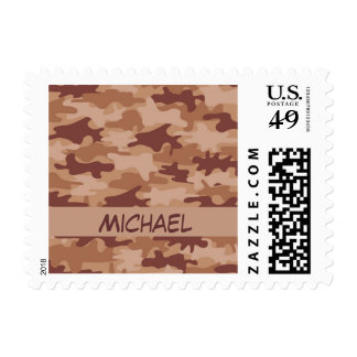 Brown Tan Camo Camouflage Name Personalized Postage