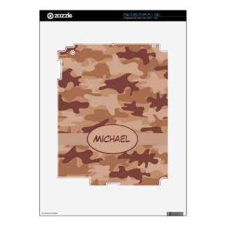 Brown Tan Camo Camouflage Name Personalized Decals For iPad 2
