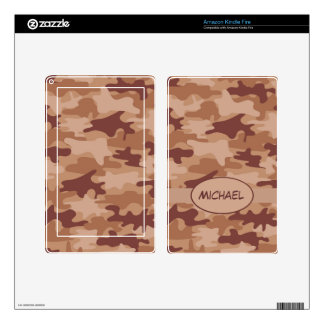 Brown Tan Camo Camouflage Name Personalized Skin For Kindle Fire