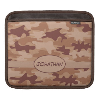 Brown Tan Camo Camouflage Name Personalized Sleeve For iPads