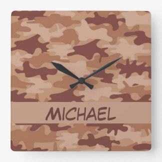 Brown Tan Camo Camouflage Name Personalized Square Wall Clock