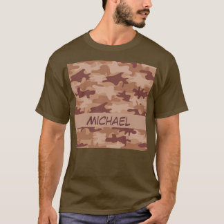 Brown Tan Camo Camouflage Name Personalized T-Shirt
