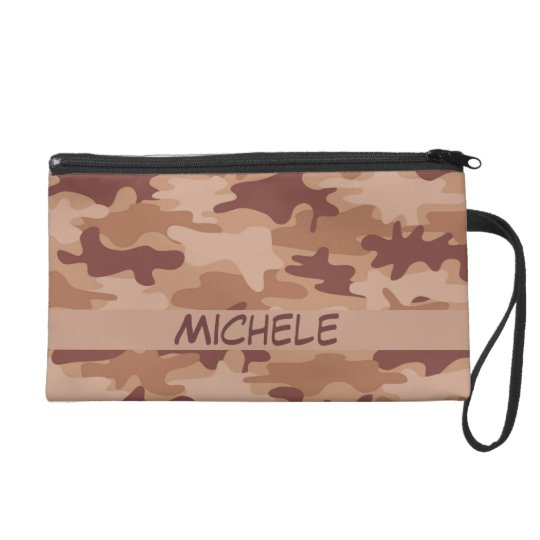 Brown Tan Camo Camouflage Name Personalized Wristlet Purse