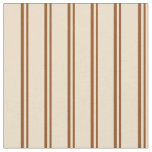 [ Thumbnail: Brown & Tan Colored Lined Pattern Fabric ]