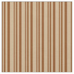 [ Thumbnail: Brown & Tan Colored Stripes Fabric ]