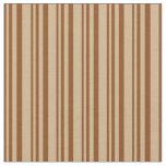 [ Thumbnail: Brown & Tan Colored Stripes Fabric ]