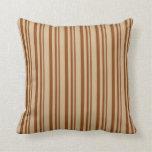 [ Thumbnail: Brown & Tan Colored Stripes Throw Pillow ]