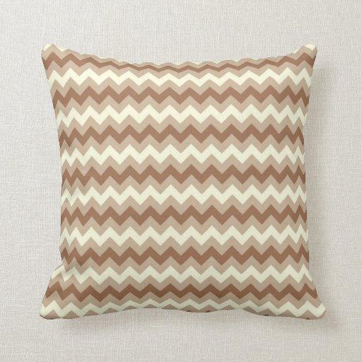 Brown, Tan, Cream, Chevron Throw Pillows Zazzle