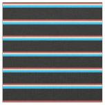 [ Thumbnail: Brown, Tan, Deep Sky Blue & Black Pattern Fabric ]