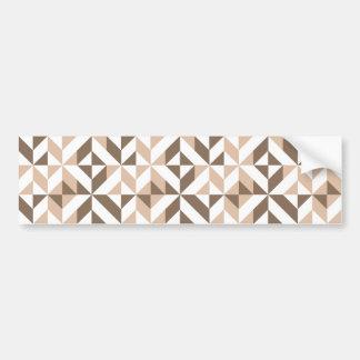 Brown Tan Geometric Cube Pattern Bumper Sticker