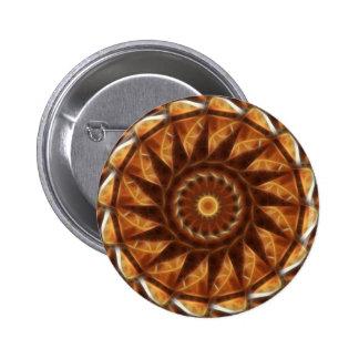 Brown Tan Gold Kaleidoscope Art 7 Button