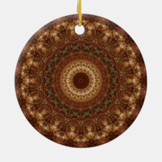 Brown, Tan, & Green Christmas Mandala Double-Sided Ceramic Round Christmas Ornament