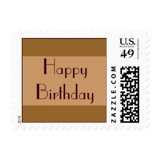 Brown Tan Happy Birthday Postage Stamp