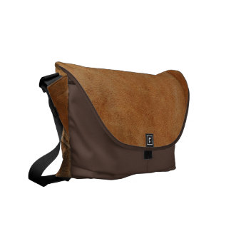 Brown Tan Leather Look Texture Messenger Bag
