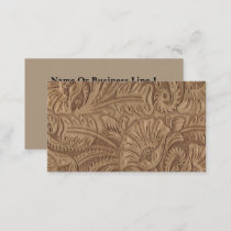 Brown Tan Leather Print Business Cards