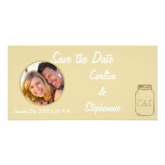 Brown/Tan Mason Jar Wedding Photo Announcement Photo Card Template