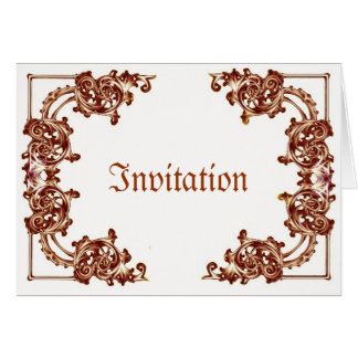 Brown tan Ornate floral swirl damask invitations Greeting Cards