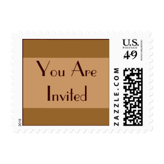 Brown Tan Party Invitation Postage Stamp