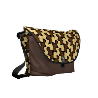 Brown Tan Patterned Purse Commuter Bags