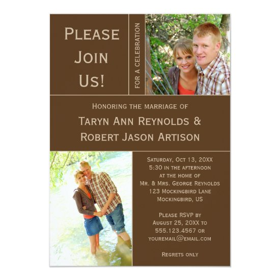 Brown Tan Photo Block Post Wedding Invitation