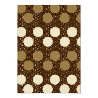Brown Tan Polka Dots Circles Pattern Gifts 5x7 Paper Invitation Card