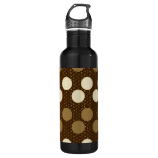 Brown Tan Polka Dots Circles Pattern Stainless Steel Water Bottle