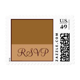 Brown Tan RSVP Postage Stamps