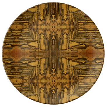 Aztec Themed Brown Tan Rustic Wood Pattern Porcelain Plate