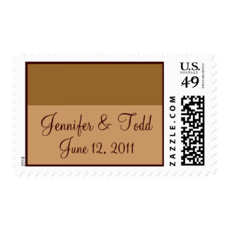 Brown Tan Save the Date Postage Stamps