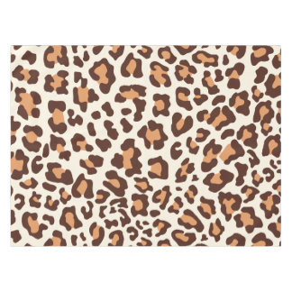 Lovely Brown, Tan, White Leopard Print Tablecloth