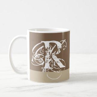 Brown & Tan with Fancy White Monogram Coffee Mug