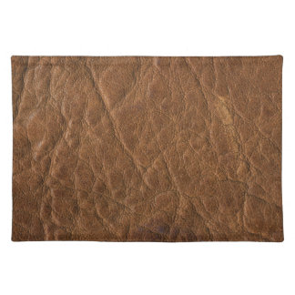 Brown Tanned Leather Texture Background Place Mats