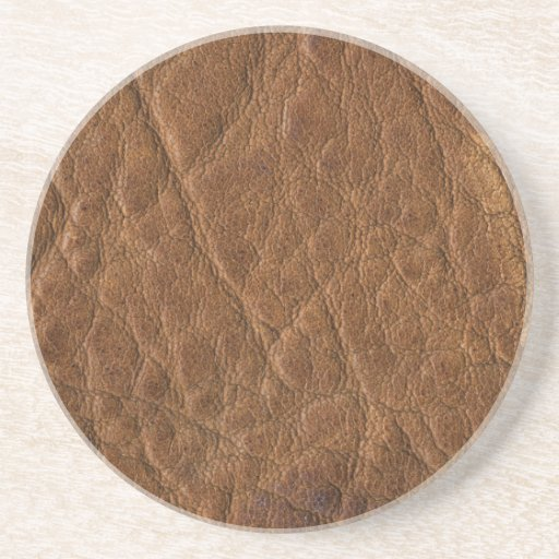 Brown tanned leather texture background sandstone coaster zazzle - Sandstone drink coasters ...
