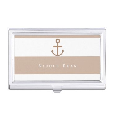 Professional Business Brown Taupe & White Anchor Business Card Holder