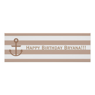 Brown Taupe & White Striped Anchor Custom Banner Poster