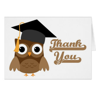 Brown Tawny Owl with Graduation Cap Thank You Card