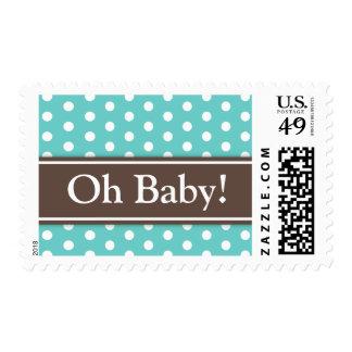 Brown teal aqua polka dots Oh Baby shower stamp