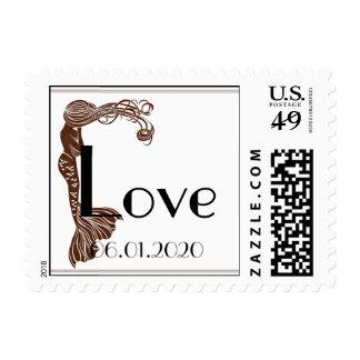 Brown Teal Art Deco Posh Wedding Love Stamp