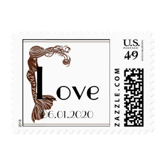Brown Teal Art Deco Posh Wedding Love Stamp