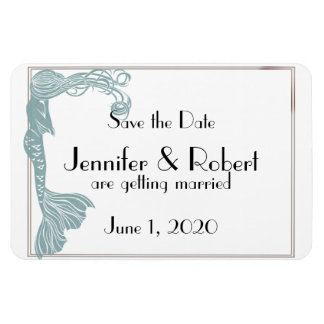 Brown Teal Art Deco Posh Wedding Save the Date Magnet
