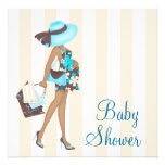 Brown Teal Blue Baby Shower Invitations