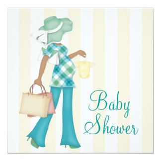 """Brown Teal Blue Baby Shower Invitations 5.25"""" Square Invitation Card"""