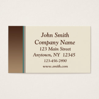 Brown Teal Border Business Card