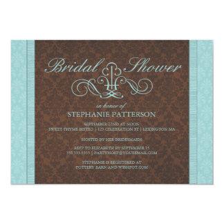 Brown & Teal Chic Damask Bridal Shower Invitation