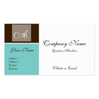 Brown & Teal Chic Monogram Style Business Cards